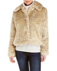 Veste de fourrure imprimée léopard beige