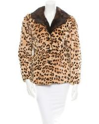 Veste de fourrure imprimée léopard marron clair