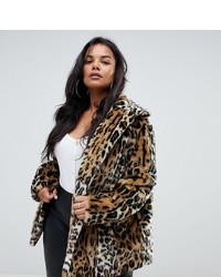 Veste de fourrure imprimée léopard marron clair Asos Curve
