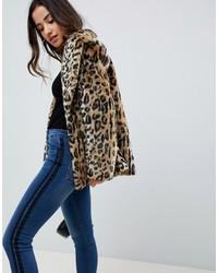 Veste de fourrure imprimée léopard marron clair ASOS DESIGN