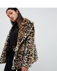 Veste de fourrure imprimée léopard marron clair Asos Petite