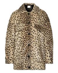 Veste de fourrure imprimée léopard marron clair By Malene Birger