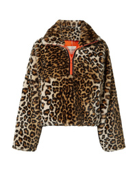 Veste de fourrure imprimée léopard marron foncé Sandy Liang