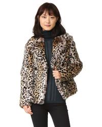 Veste de fourrure imprimée léopard marron