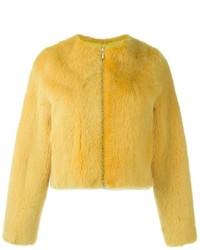 Veste de fourrure jaune
