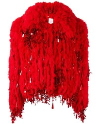 Veste de fourrure rouge Ashish