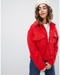 Veste de fourrure rouge Monki