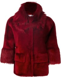 Veste de fourrure rouge