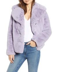 Veste de fourrure violet clair