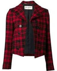 Veste écossaise rouge et noir Saint Laurent