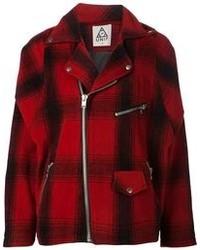 Veste écossaise rouge et noir