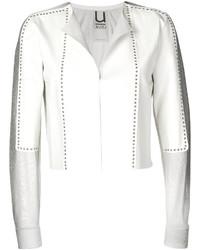 Veste en cuir à clous blanche Aviu