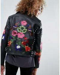 Veste en cuir à fleurs noire Asos