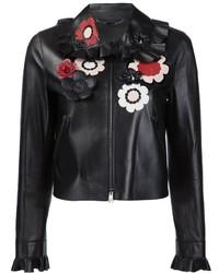 Veste en cuir à fleurs noire Fendi