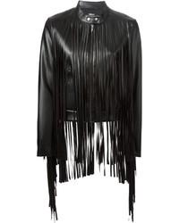 Veste en cuir à franges noire DKNY