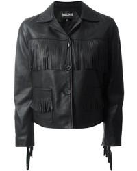 Veste en cuir à franges noire Just Cavalli