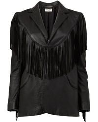 Veste en cuir à franges noire Saint Laurent