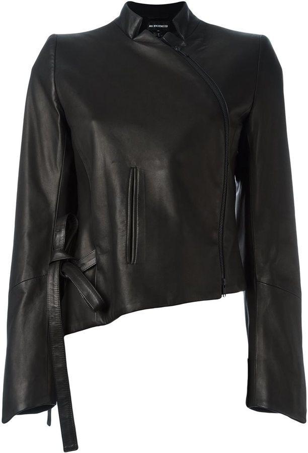 Veste en cuir noire Ann Demeulemeester