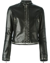 Veste en cuir noire Valentino