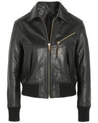 Veste en cuir texturée noire Golden Goose Deluxe Brand