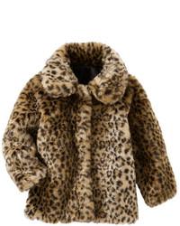 Veste en fourrure imprimée léopard marron