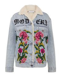 Veste en jean à fleurs bleu clair Gucci