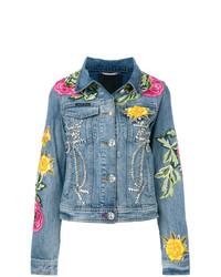 Veste en jean à fleurs bleu clair Philipp Plein