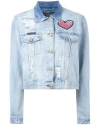 Veste en jean bleu clair Philipp Plein