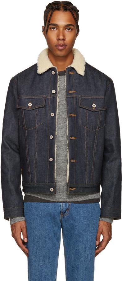 a2667e9bf2 Veste en jean bleu marine Naked & Famous Denim, €179 | SSENSE ...