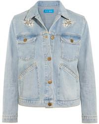 Veste en jean brodée bleu clair