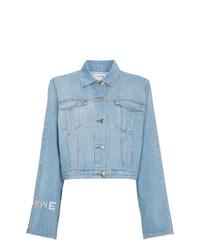 Veste en jean brodée bleu clair Frame Denim