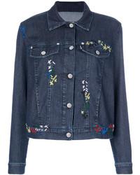 Veste en jean brodée bleu marine Love Moschino