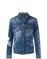 Veste en jean brodée bleue Philipp Plein