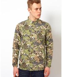 Veste en jean camouflage olive