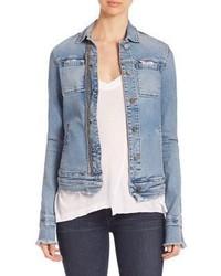 Veste en jean déchirée bleu clair