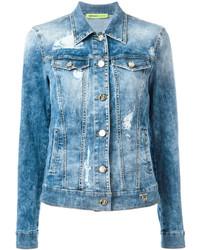 Veste en jean déchirée bleu clair Versace