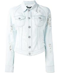 Veste en jean déchirée bleu clair Versus