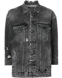 Veste en jean déchirée gris foncé R 13
