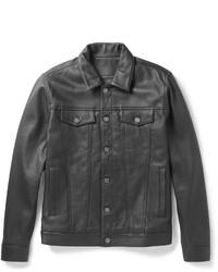 Veste en jean en cuir noire
