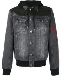 Veste en jean en cuir noire Philipp Plein
