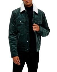 Veste en jean en velours côtelé vert foncé