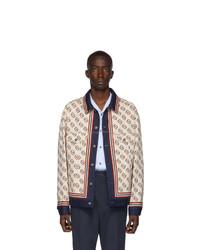 Veste en jean imprimée blanche Gucci