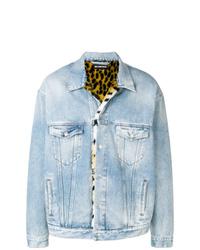 Veste en jean imprimée bleu clair
