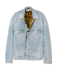 Veste en jean imprimée bleu clair Balenciaga
