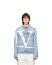 Veste en jean imprimée bleu clair Valentino