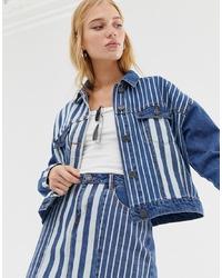 Veste en jean imprimée bleue Noisy May