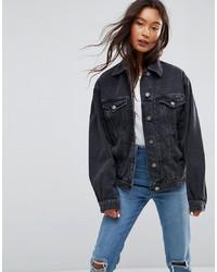 Veste en jean noire ASOS DESIGN