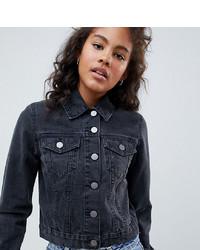 Veste en jean noire Asos Tall