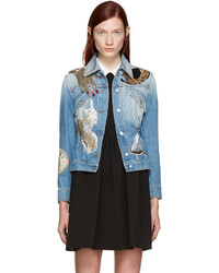 Veste en jean ornée bleu clair Alexander McQueen