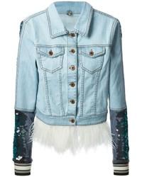 Veste en jean ornée bleu clair Aviu
